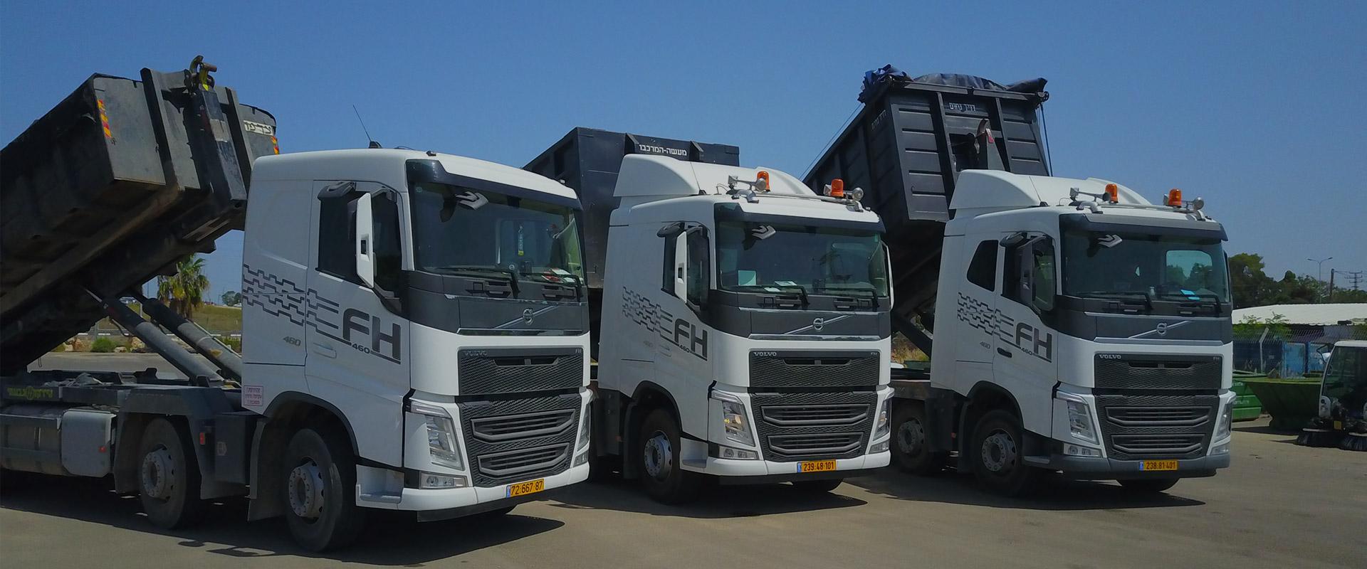 3 משאיות פינוי פסולת